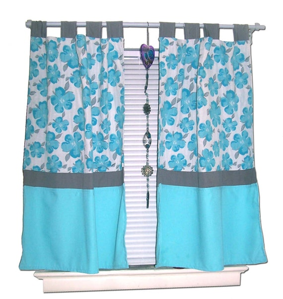 Turquoise Flower Curtains By BeautifullyLiving On Etsy