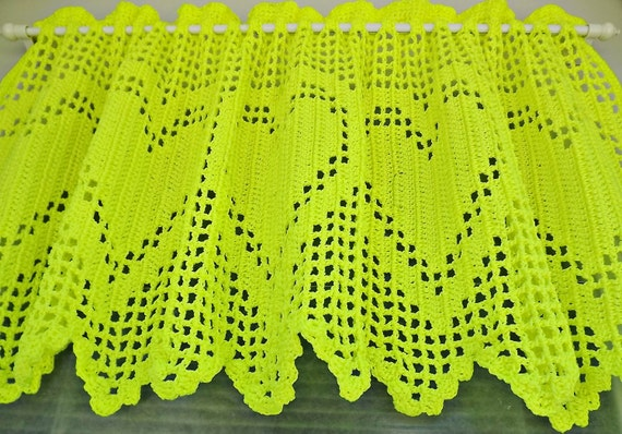Valance Heart  Crocheted - Neon Color -- Window Valance - All Year Round Window Valance