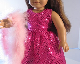 Doll Clothes Elegant Pink Sequin Gown With Boa Also Fits Most 18 Inch Dolls American Handmade