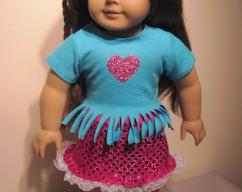 18 Inch Doll Clothes Pink Sequin Skirt And Fringe T-Shirt With Graphic Metallic Heart