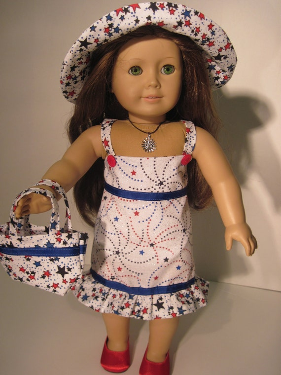 American Girl Doll Clothes Patriotic Red/Wh/BL Sundress With Hat And Matching Tote Bag