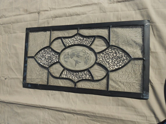 Vintage Victorian Style Stained Glass Window Door Inserts- 10.5 by 20 inches with Etched Humming bird and flower