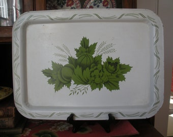 Vintage Green Cream White Tole Metal Tray Rusty Shabby Chippy Great Gift