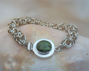 Bracelet: Green Opal Sterling Box Clasp on Argentium  Silver and Gold-filled Turkish Round Handmade Chain Maille