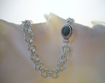 Labradorite Box Clasp on an Argentium  Silver Flower Chain Bracelet