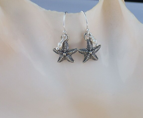 Sterling Silver Starfish Earrings with Seed Pearls