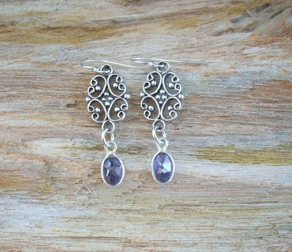 Earrings: Iolite Drops with Sterling Filigree