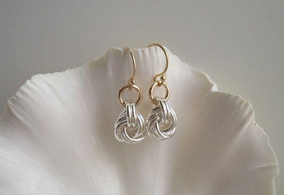 Earrings: Argentium Silver Rosettes with Gold-filled Accents and Earwires