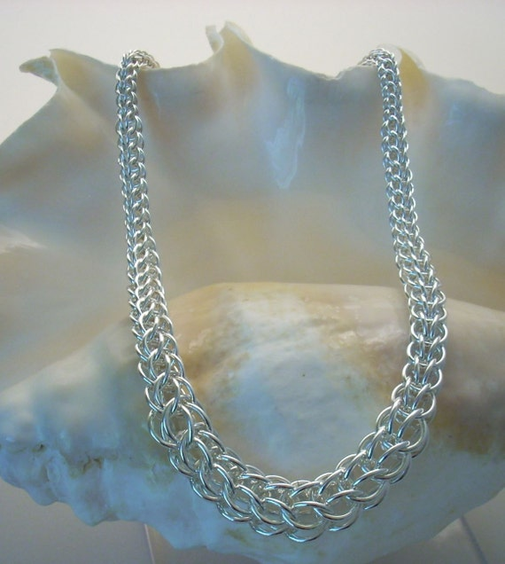 Graduated Necklace - Handmade Argentium Sterling Chain Maille Full Persian Weave