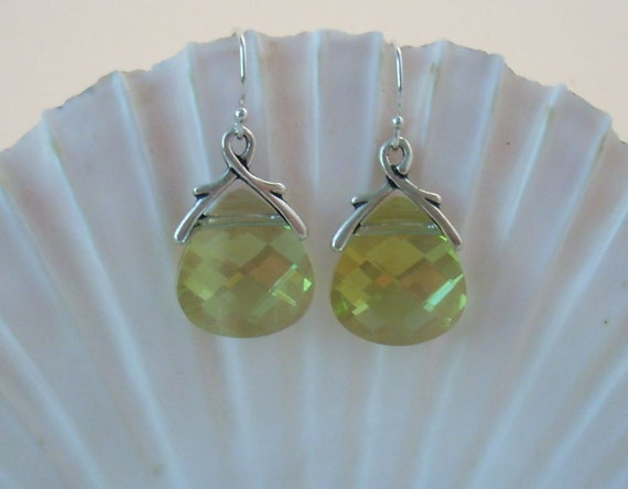 Verde Swarovski Crystal Earrings - Chartreuse (yellow green)