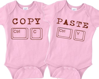 Copy Paste Twins Onesie Set - Pink