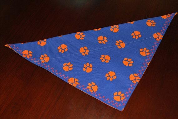 Auburn University Tiger blue and orange pawprint dog collar scarf bandana