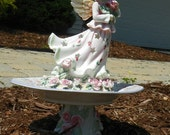 Beautiful Rose Angel...  GARDEN and LAWN ART ...repurposed....adorable...garden stake...tiny totem