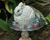 PRETTY BUNNY BUNNY...3 piece ceramic decor for indoors or outdoors....