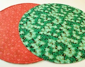 Red Round Table Runner Green Table Cover for St. Patrick's Day Red Table Runner for Valentine's Day Red Hearts and Shamrocks Table Runner