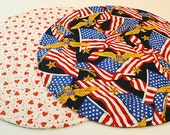 Patriotic, Round Table Cover for 4th of July/Independence Day/Labor Day/Memorial Day/Valentine's Day, Reversible, 20 in. dia.