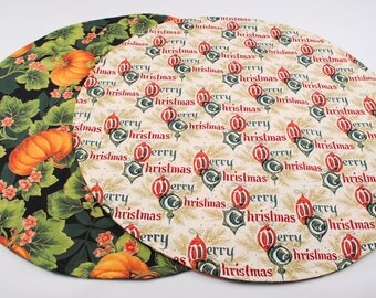 Halloween Table Runner, Round, Reversible, Handmade, Quilted,  20 in. dia.