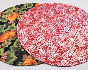 Holiday Table Runner, Round, Reversible, Quilted, Handmade.