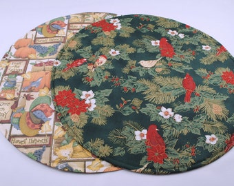 Round Table Runner, Reversible, Quilted, Handmade, Fall / Christmas, 20 in. dia.