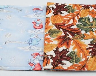 Fall Winter Table Runner Leaves Table Cloth Snowman Table Cover Quilted Table Runner Reversible Table Scarf 42 in. x 11 in.