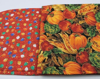 Table Runner Fall / Christmas,  Double-sided, Quilted, Handmade, 2 Holidays, Seasonal, 31''x11''