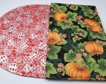 Holiday Table Runner - Christmas / Thanksgiving / Fall, Double-sided, Quilted, Handmade, 42 in. x 17 in.