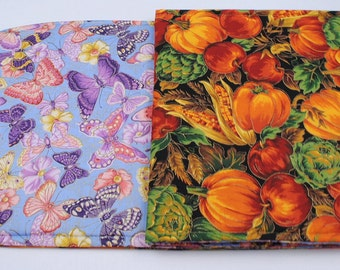 Butterfly/Pumpkin Table Runner, Summer/Fall Table Cloth,Reversible, Quilted, Handmade, 49 in. x 14 in.
