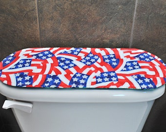 Toilet Tank Lid Cover for Valentines Day / Independence Day / 4th of July, Red Hearts / Flags.