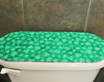 Shamrocks Toilet Tank Cover, Reversible, Quilted.