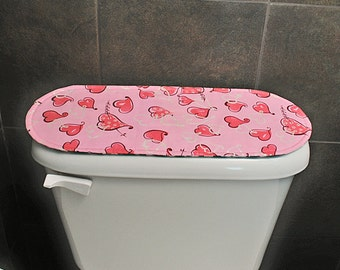 Toilet Tank Cover Green Bathroom Accessories Pink Bathroom Accessories Valentine's Day Bathroom Decor St. Patrick's Day Shamrocks  Hearts.