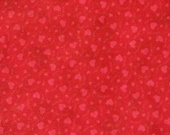Fabric Valentines Day Fabric Red Fabric Red Hearts  Fabric Glitter Fabric Harts Fabric  V.I.P. Print by Cranston Print Works Co., 1 Yard.