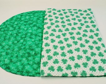 Table Runner for St. Patricks Day, Shamrocks/Irish/Celtic Table Cloth, Reversible, 42 in. x 17 in.