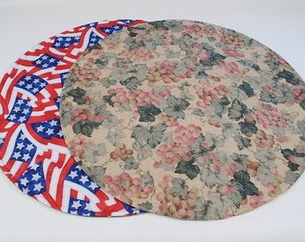 Grapes/4th of July Round Table Runner Round Table Cloth, Grapes/Red White and Blue Table Decoration, Quilted, Reversible, 20 in. dia.