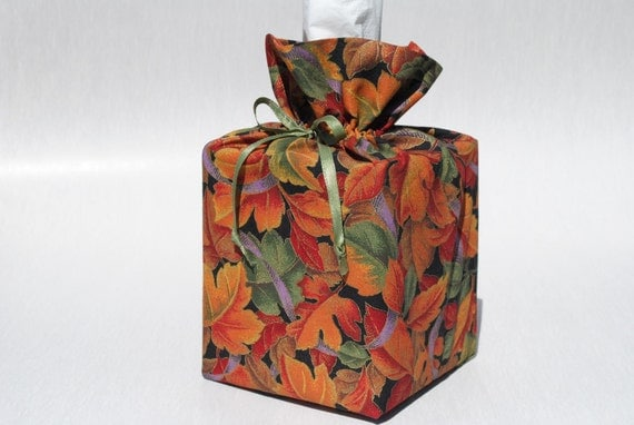 Halloween Tissue Box Cover Thanksgiving Kleenex Box Holder Fall Leaves Tissue Box Holder Cloth Tissue Box Holder Boutique Kleenex Box