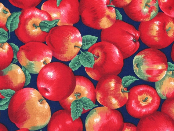 Fabric, Red Apples on Navy Blue Background, 100% Cotton by Cranston Print Works Co. 1 2/3Yard