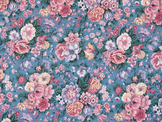 Pastel Flower Fabric, Peach Flowers Fabric, Pink/Blue Cotton Fabric, Discontinue, Vintage, Rembrance, Keepsake, 1 1/3 Yard.
