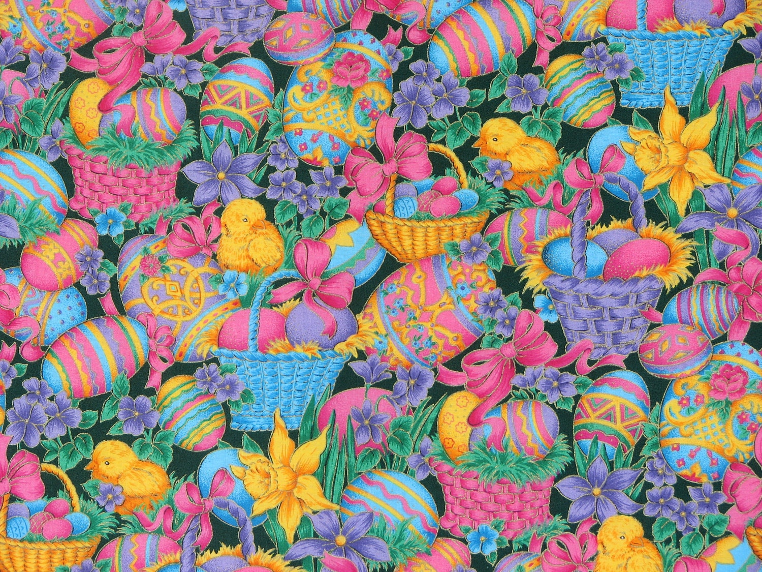 Easter Fabric Easter Eggs Easter Chicks Spring Flowers Home
