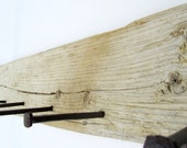 Driftwood Coat Rack - Flat wood with antique railroad spikes