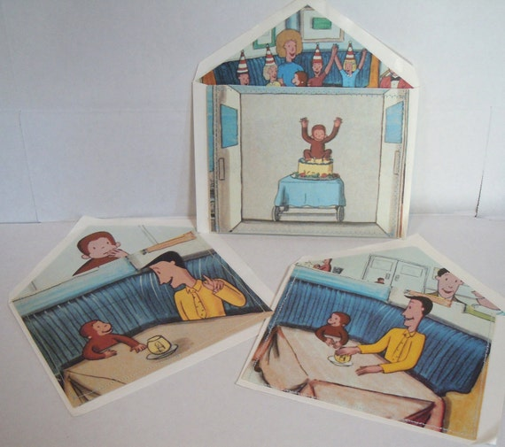 Curious George Cards, Upcycled from Vintage Book, Set of Three