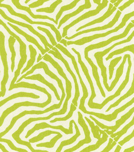 Waverly Modern Essentials Fabric, Wild Life, Zebra Print, Lime Green and White, 1 yard