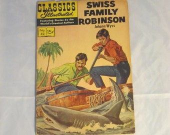 Swiss Family Robinson Illustrated Comic ~ Unique Nursery Bookshelf Decoration, Gift for New Baby Parents, Collectible Kids Present