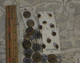 Vintage Button Lot, Brass and Silver Colored Vintage Buttons