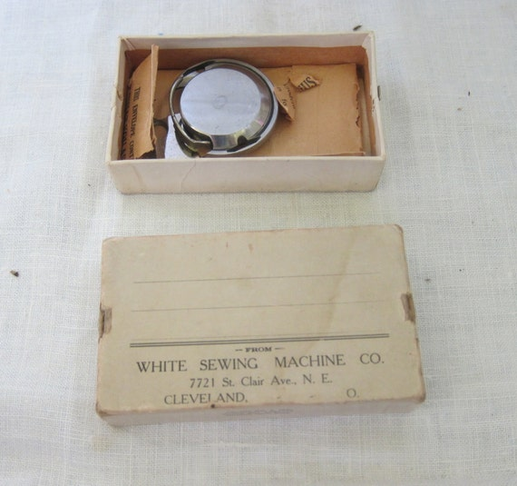 Vintage Sewing, White Sewing Machine Co. Parts, bobbin case and chain stitch needle, Steampunk