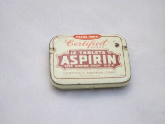 Vintage Tin, Certified Aspirin Tin Can - 12 tablets size