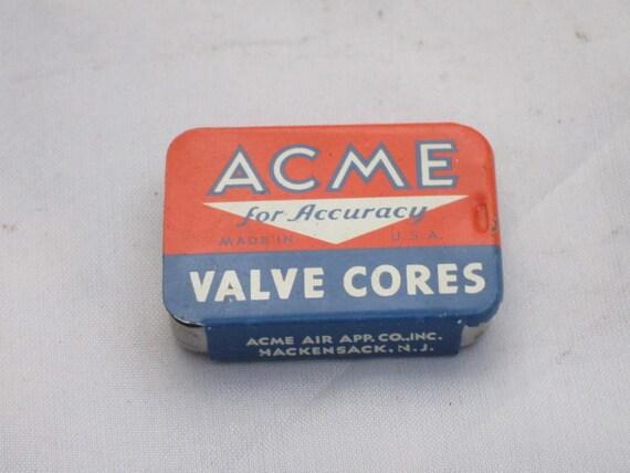 """VINTAGE TIN, Acme Valve Cores Tin with valves / For Accuracy USA Red White Blue 1.5"""" Advertising Tin"""