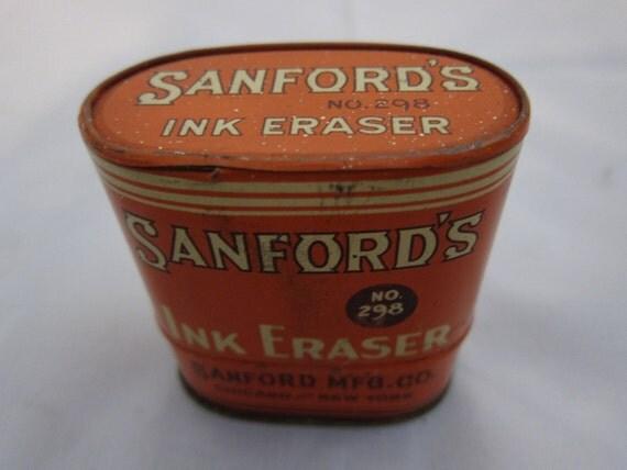 Vintage Sanfords Ink Eraser Complete Tin & Bottles