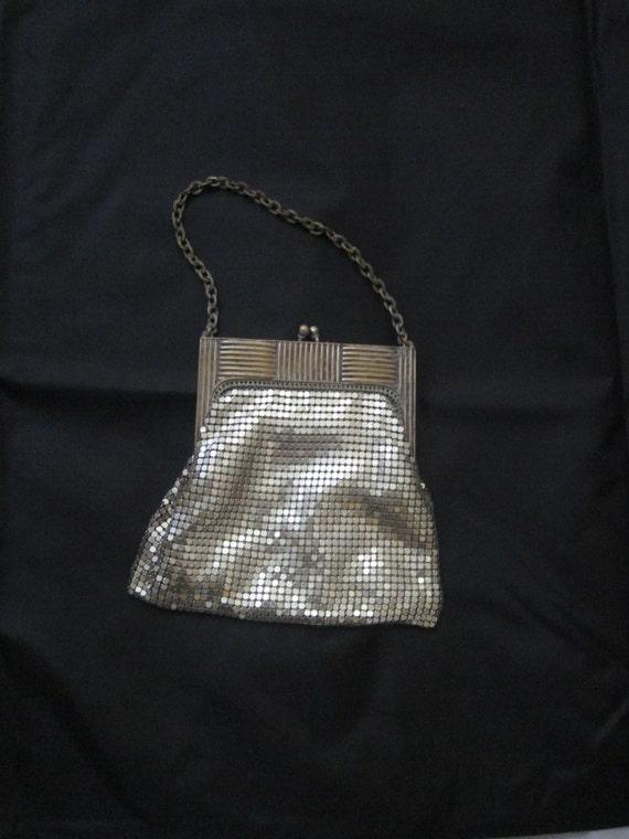 Victorian wedding bag, Silver Mesh Vintage Purse, 1920's Flapper Style