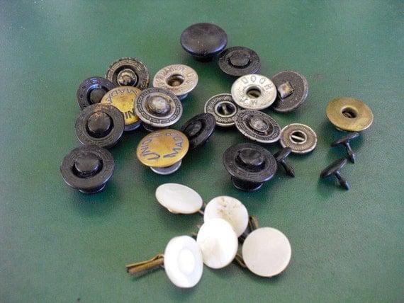 Vintage Button Lot, tie and rivet back Vintage Button Lot