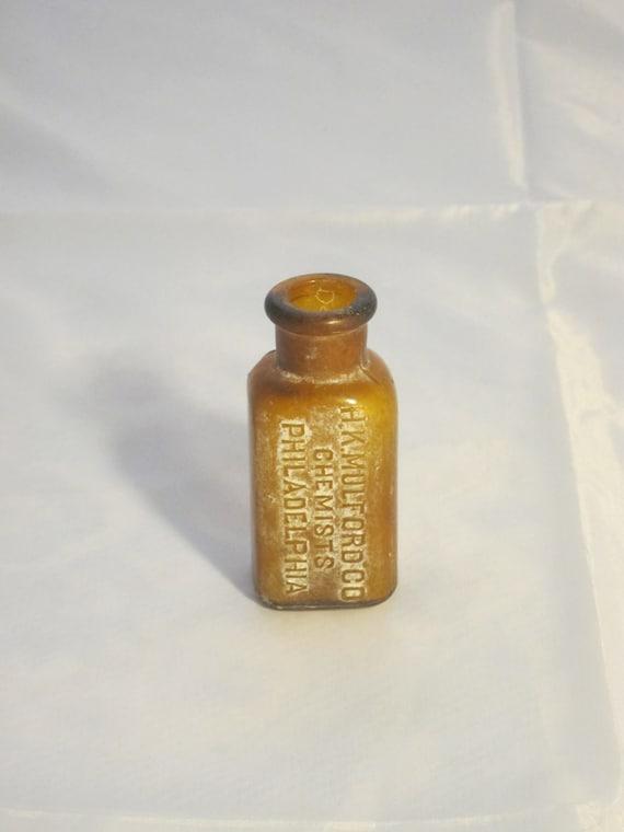 Antique Amber Bottle, Chemists Medicine Bottle Golden H K Mulford Co Philadelphia
