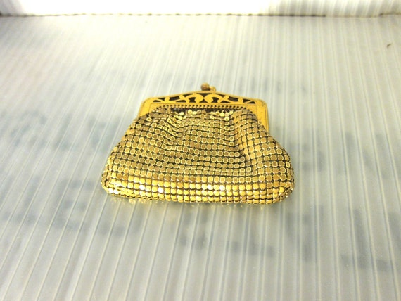 Retro Fashion, Whiting and Davis Gold color Mesh Vintage Purse, 1940's